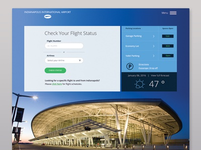 Indianapolis Airport grid layout daily ui ux webdesign denver indy microsite ui design web