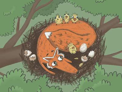 Fox babysitter fairytale character design animal illustration cute art funny illustration shot invite procreate illustration picture book book illustration