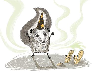 The skunk and the magic of smell digital illustrations pencil comic storytelling digital illustration illustration fairytale cute art funny illustration animal illustration procreate picture book book illustration