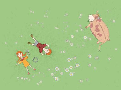Meadow digital illustration comic illustration funny illustration fairytale cute art animal illustration procreate picture book book illustration