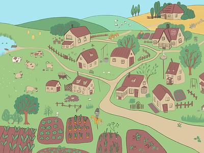 The village digital illustrations digital illustration comic illustration funny illustration fairytale cute art picture book procreate book illustration