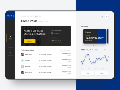 Wexopay Dashboard crypto wallet ui ux design ux ui webapp wallet crypto currency crypto payments dashboad
