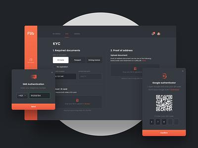 Flib Settings design qr code profile 2fa kyc settings crypto currency crypto wallet web app ux ui