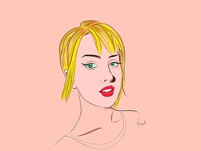 Vector Illustration illustration art cute blonde green eyes girl beauty illustraion vector