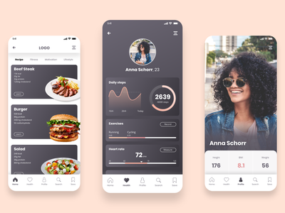 Health & Nutrition app nutrition health branding design ui uxui design ui design
