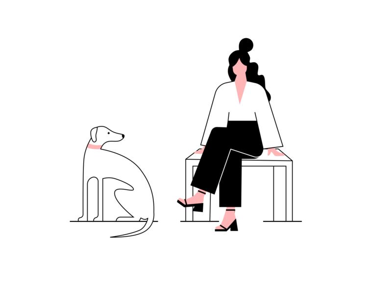 Waiting human dog illustration