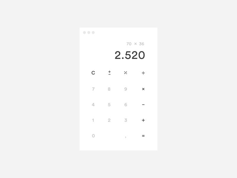 Daily UI / Light Calculator App light minimal ui macapp calculator daily ui
