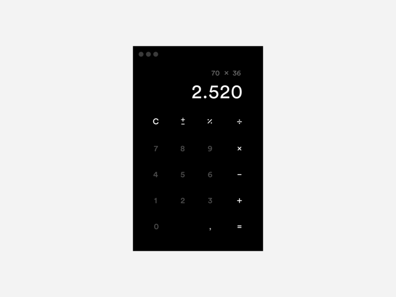 Daily UI / Dark Calculator App ui clean minimal dailyui desktop mac app dark daily ui calculator