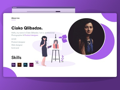 About me section about page about me design ui first shot web illustration webdesign