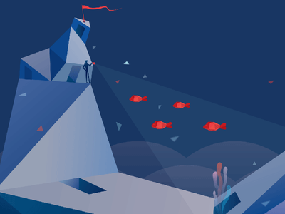 Inmersive Game vr illustrator 3d fish water cold blue lowpoly illustration low poly