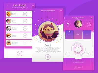 Crafty App amigurumi confetti pink knit crochet craft gamification design ux app