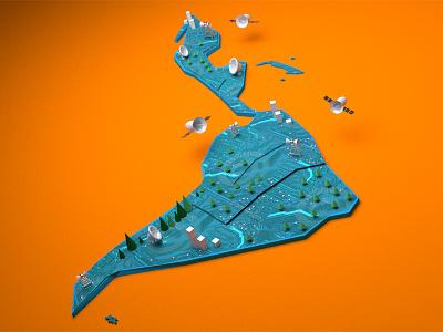 Latam Render blender visual data infographic design blue orange satellites drones technology latam 3d map
