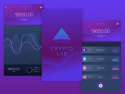 Crypto Lab purple gradient design ui ux financial app bitcoin coin crypto