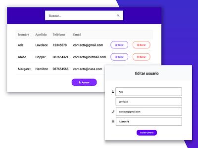 Crud users form gradient node.js javascript form ux design violet ui material design