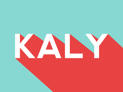 Kaly logo green blue red shadow long flat typo typography
