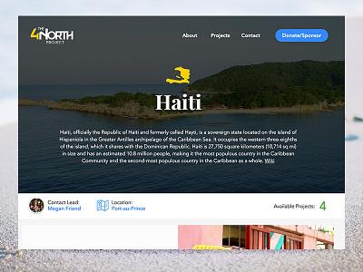 4North - Landing Page - Haiti nonprofit haiti maps ui visual design