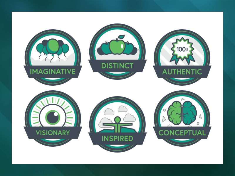 Agency Adventure Badges illustrator badges agency green branding illustration icons