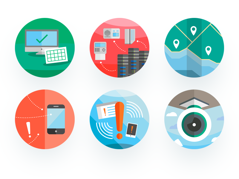Security Icon Badges video icons server monitoring alarm badges ui illustrator branding illustration