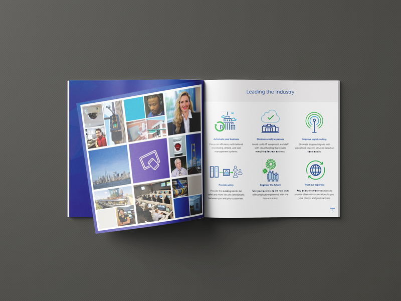 Product Guide Booklet - Dice Corporation monitoring alarm security rebrand book print branding photography product guide booklet badges icons indesign illustrator
