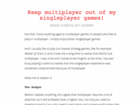 Keep multiplayer out of my singleplayer games!