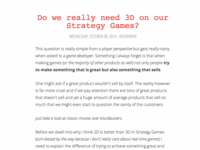 Do we really need 3D on Strategy Games?