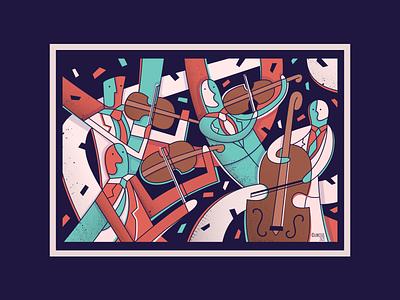 String Quartet classical music cello viola violin abstract digital art illustration musicians music strings classical