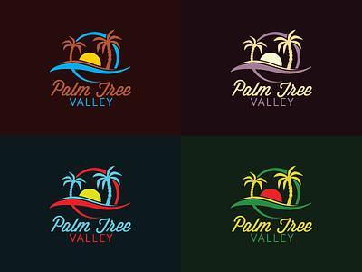 Palm Tree Valley Logo mark branding round sunset sunrise ocean sea wave sand beach sun tropical