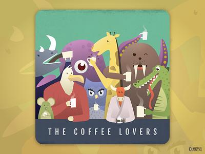 The Coffee Lovers seal rooster rhino rat owl octopus mouse giraffe crocodile bull animals alligator