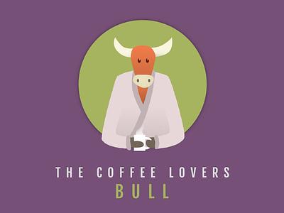 BULL drinking circle round horns drink hot coffee bathrobe robe bull