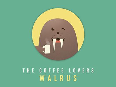 WALRUS wink happy drink coffee seal walrus round circle