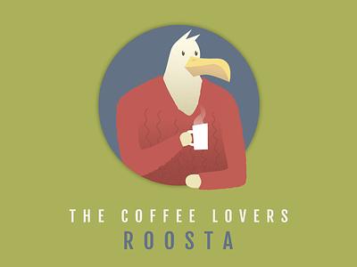 ROOSTA caffeine character design chicken round circle mug cup hot sweater feather beak coffee bird rooster