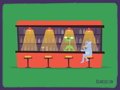 The Farago - Characters cartoon drinking bartender stools unity platformer adventure 2d drinks bar cat
