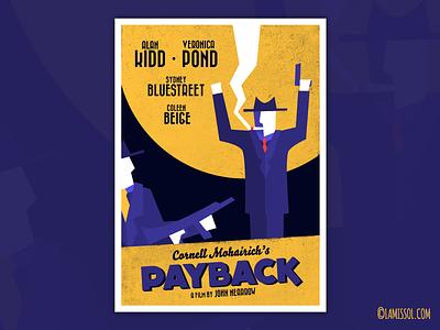 PAYBACK - Film Noir Poster moon suits machine gun cigarette smoke hands up revenge poster
