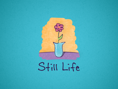 Still Life leaf bloom branding logo painting flower vase