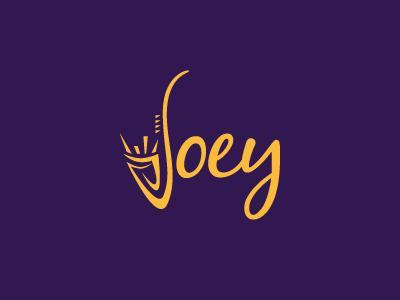 Joey branding mark logo brass instrument musical music jazz saxophone sax
