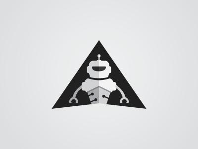 Robot circuit mechanical robot triangle branding mark logo