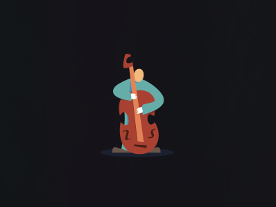 Double Bass vector illustration branding mark logo instrument musical musician music jazz double bass bass