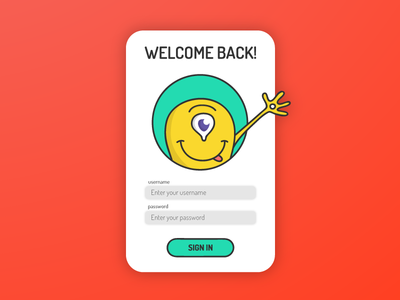 Login Screen password signing signin intro startup alien cyclops monster character sign in login ui