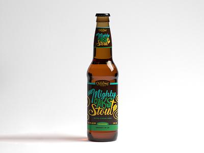 Mighty Oaks Stout - Beer Bottle Label bottle design package design drink lettering label design design alcohol beer branding stout beer label label product design logo typography brewery packaging craft beer branding bottle beer