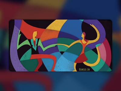 Swing Dancing colorful jazz character graphic art abstract dancing illustration