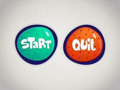 Start & Quit Buttons colourful exit design menu cartoony illustration ux ui colorful game buttons button stop quit start