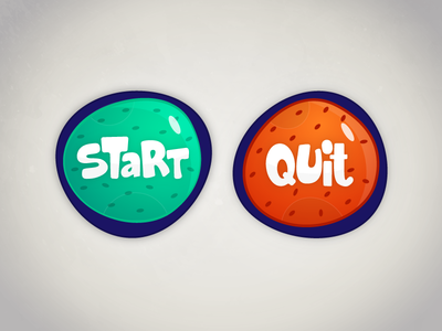 Start & Quit Buttons cartoony illustration ux ui colorful game buttons button stop quit start