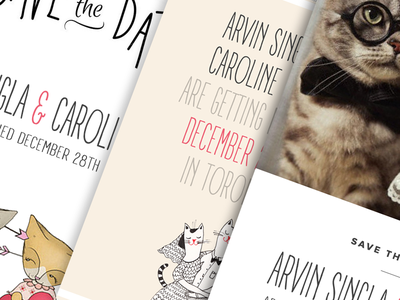 There's only 2 must haves. cat wedding invite typography