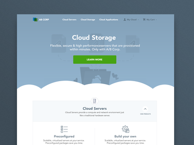 An overcast early draft mockup exploration cloud landing page