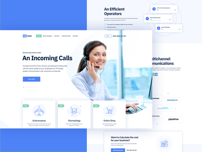 Call Center Main Page layout website web light icons contact center header landing page call center