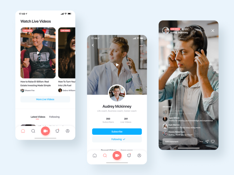 Live streams with your coach mobile app development mobile app design social network social app streaming app video application interface android mobile application ios ux deisgn ui design app mobile app