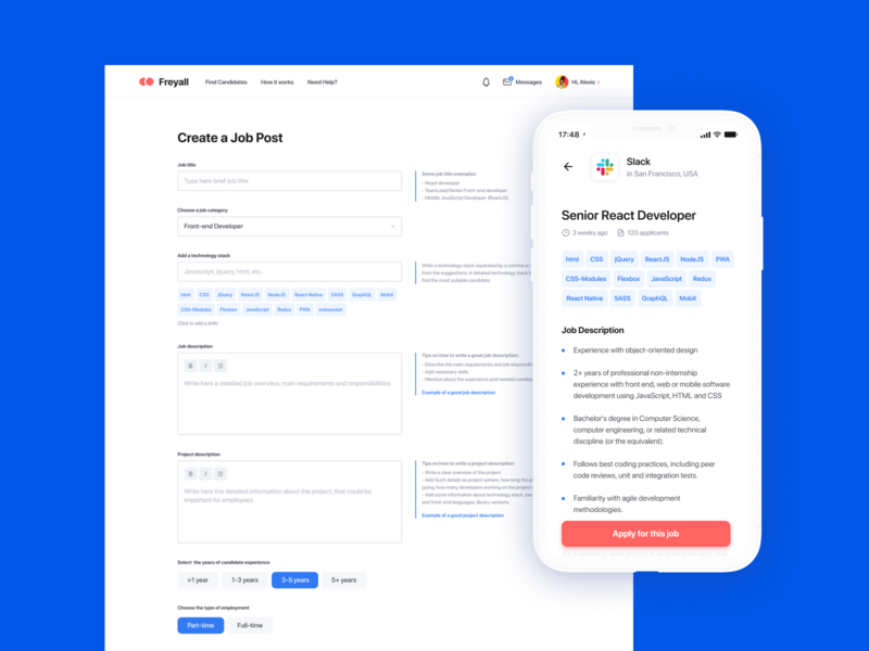 Freelancer Search Service Design Concept design android mobile app ios app job search find a job ux design clean ui mobile app design ui design interface