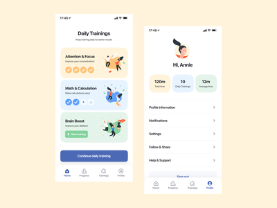 Whizkid by Syndicode mobile ui trainings illustrations ux homepage account profile colorful mobile ui application ux design mobile app design clean ui interface ios ui design mobile app education app