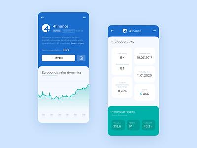 QBF Trends Investment App clean mobile app investment profile card trade ui finance bonds graphics investment app application design app design application