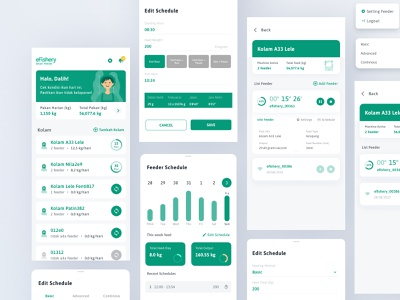 eFishery Smart Feeder | UI Design Concept iot feeder machine machinelearning timer data card dashboard dashboard app dashboard ui simple userexperience ui ux android apps mobile uxdesign userinterface uidesign